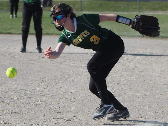 Junior second baseman Hannah Cherrin makes a play during