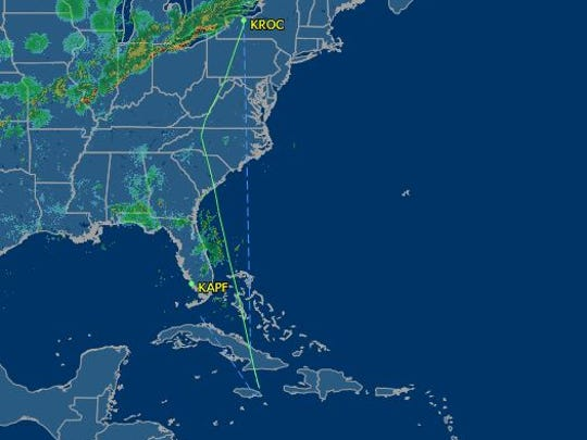 The flight path of Larry Glazer's TBM-900 which was supposed to fly from Rochester to Naples.