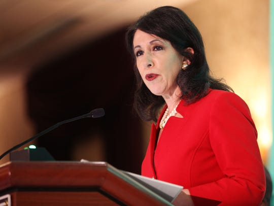 Monroe County Executive Cheryl Dinolfo speaking at the Joseph A. Floreano Rochester Riverside Convention Center. FILE PHOTO.