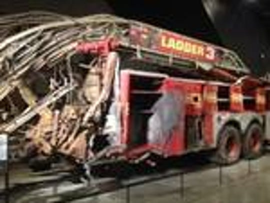 A fire engine, crushed in the terrorist attacks of