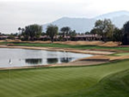 The 18th green of the Nicklaus Tournament Course at PGA West, beingplayed for the second time this week in the CareerBuilder Challenge.