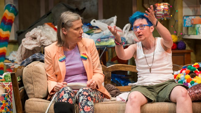 """Amy Morton (left) and Em Grosland portrays members of a complicated family in the sharply humorous """"Hir."""""""