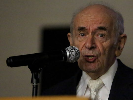 Alter Wiener, a Holocaust survivor who died in 2018, spoke at Crossler Middle School on Friday, Feb. 13, 2015, in Salem, Ore. More than 700 students attended the discussion as he shared the story of his life after the German invasion of Poland in 1939.