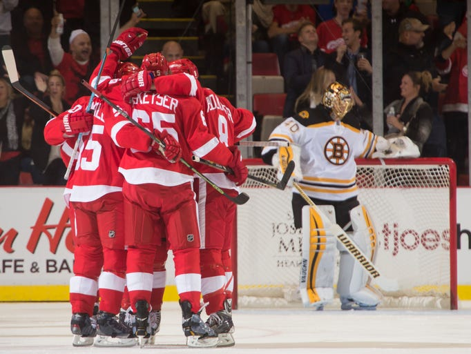 Detroit celebrates a goal by Justin Abdelkader in the