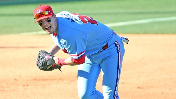 Third baseman Colby Bortles fields a ground ball during Ole Miss' series-clinching win against No. 4 Louisville on Feb. 28. The Rebels start SEC play Friday against Tennessee not having lost since then.
