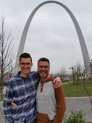 Josh Nelson (left), and his dad, Eric, in St. Louis for the 2017 National High School Racquetball Championships.