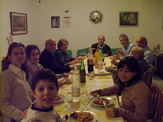 Dinner with cousins in Italy in the house where Donna Fappiano Dumelin's grandfather grew up.