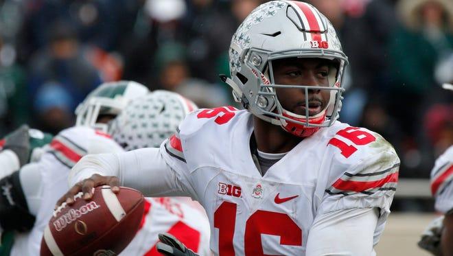 Ohio State quarterback J.T. Barrett will take on rival Michigan on Saturday. (AP Photo/Al Goldis)