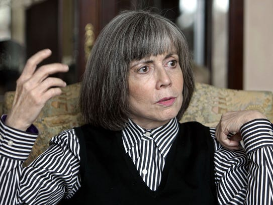 "** ADVANCE FOR FRIDAY AMS, NOV. 4 **Author Anne Rice talks about her new book during an interview at her home in La Jolla, Calif. Wednesday Oct. 26, 2005. After spectacular sales for her tales of vampires, witches and sadomashochism, Rice has turned to Jesus _ personally and literarily. Her innovative novel ""Christ the Lord: Out of Egypt"" (Knopf) depicts Jesus as a seven-year-old lad speaking in his own words as the holy family moves from Egyptian exile to Nazareth.  (AP Photo/Lenny Ignelzi)"