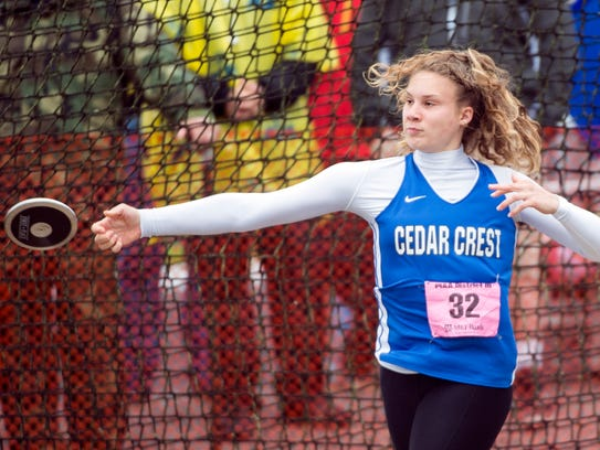 Cedar Crest's Hannah Woelfling competes in the Class