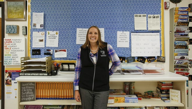 Mishicot agriscience teacher Jamie Propson poses for a picture in her classroom at Mishicot High School Thursday, Sep. 7, 2017, in Mishicot, Wis. Propson is one of four agricultural teachers across the country who will be featured in Culver's national #FarmingFridays social media campaign.