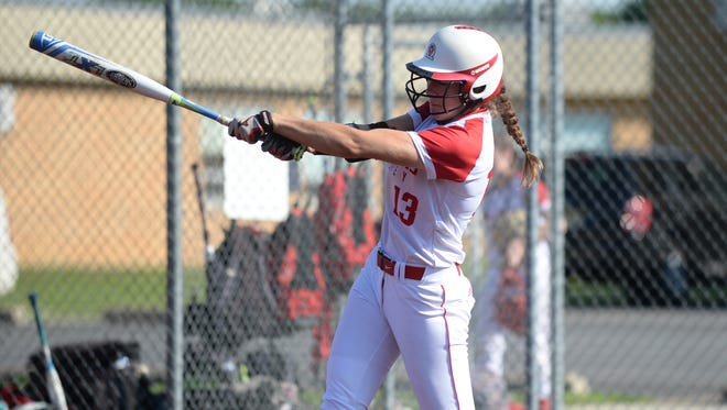 Rancocas Valley's Ashley Delany hits during Monday's South Jersey Group 4 playoff win over Eastern.