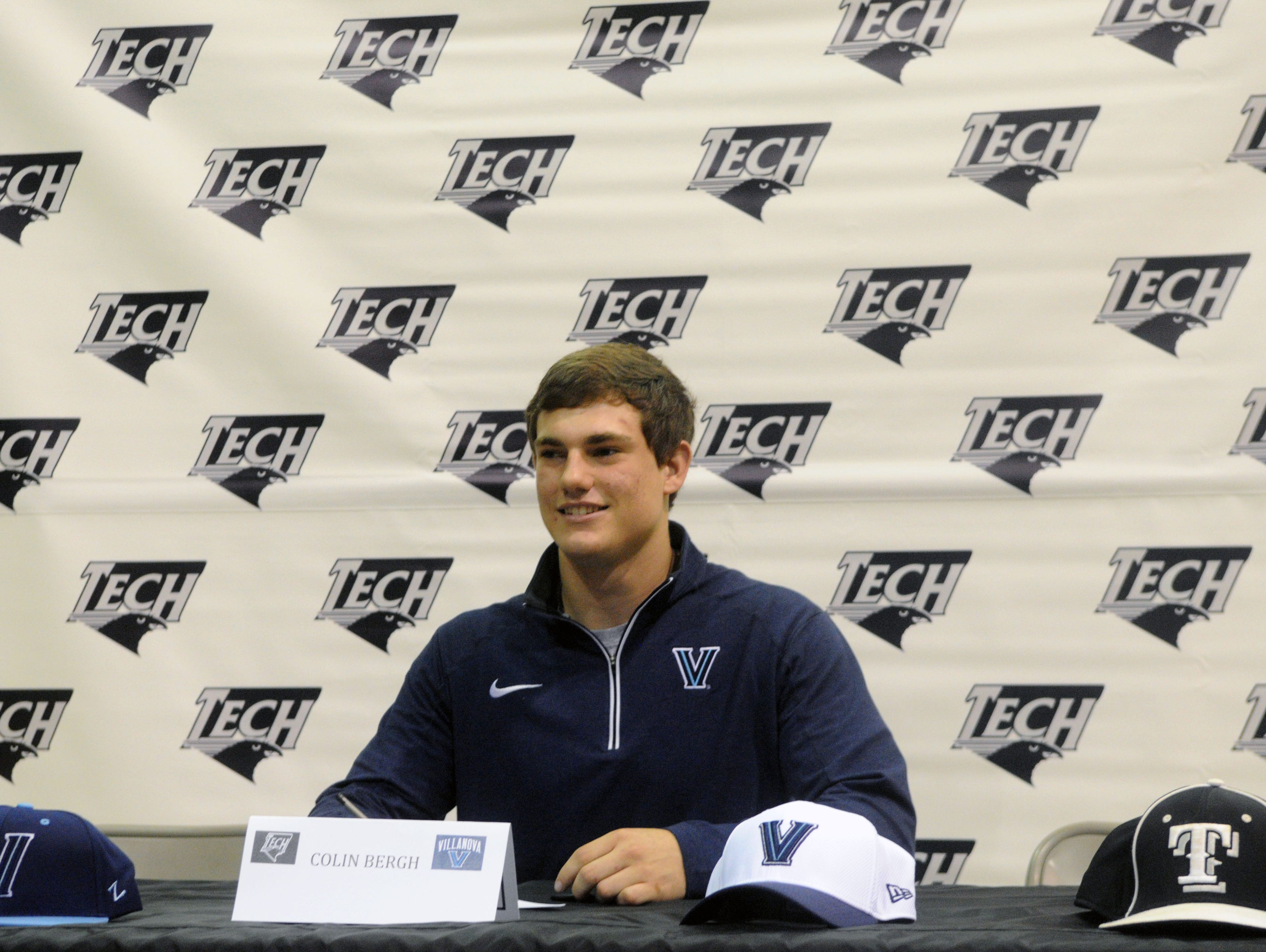 Sussex Tech's Colin Bergh signs his national letter of intent to play baseball at Villanova.
