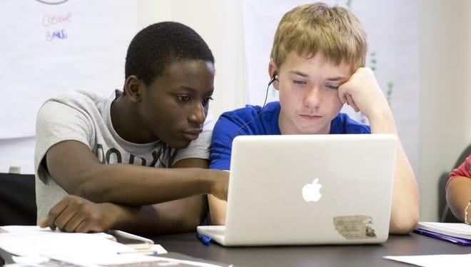 Charter school students in Brooklyn, N.Y.
