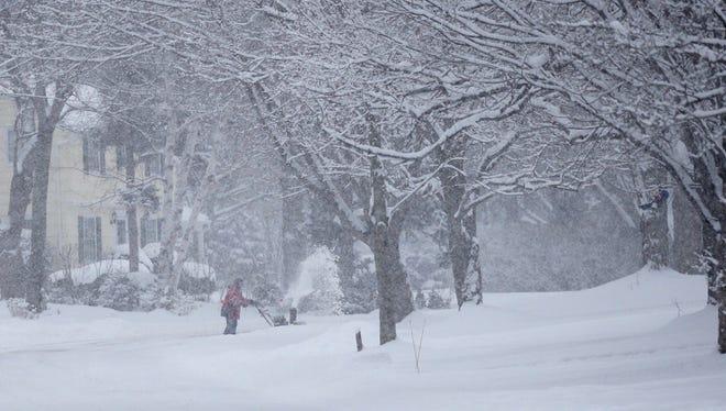 A snowy winter scene in Webster.
