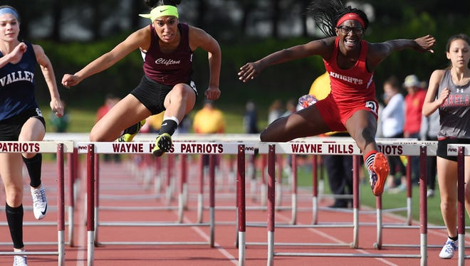 Alenys Morales (left) earned a bronze medal in the 100 high hurdles for Clifton at the North 1, Group 4 meet.