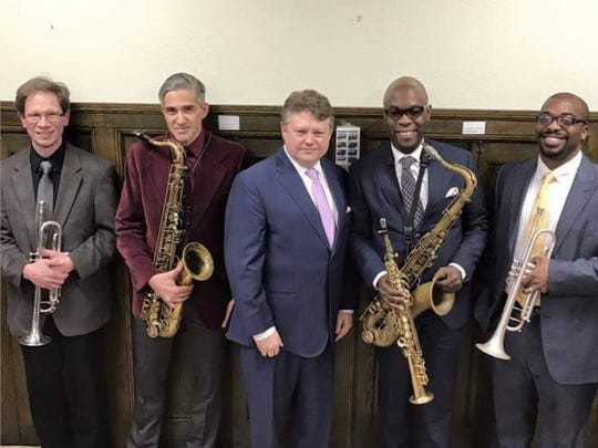"On Jan. 7, Abendmusik celebrated MLK Day early. Local jazz and gospel musicians performed in the ""Jazz Vespers"" service. Jeff Stabley, Christ Bacas, Don Collins, Bob Meashey, Steve Meashey, Kirk Reece, Tim Thompson, Tim Warfield Jr., Mack White and the Bible Tabernacle Voices for Christ Choir paid tribute to Martin Luther King Jr.  From left to right: Bob Meashey, Chris Bacas, Don Collins, Tim Warfield and Tim Thompson."