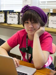 Hatte Kelley sits in journalism class at Des Moines North High School.