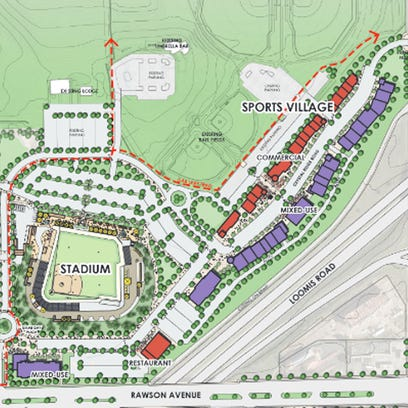 """Rendering of the Ballpark Commons project, including an indoor sports complex and a """"sports village"""" being added consisting of a street with commercial business on both sides."""