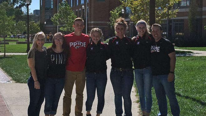 The six student-athletes representing Bucyrus at the OHSAA leadership conference at Ohio State. From left to right - Kiara Lewis, Sam Chase, Ben Seibert, Jordan Whitmore, Shaina Orewiler and Brooklyn Spears, and coach Aaron Eckert.