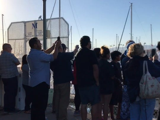 Hundreds of people gathered at Ventura Harbor on Saturday after hearing a humpback whale was stranded there.
