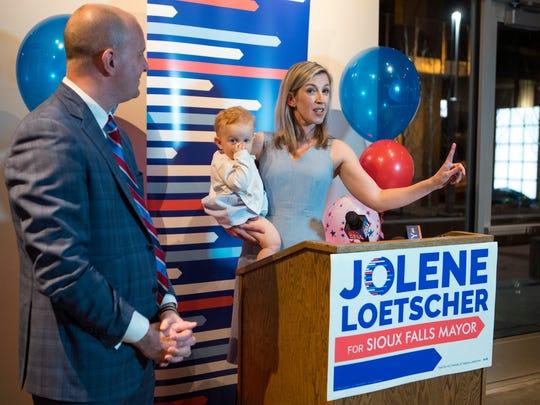 Jolene Loetscher speaks to her supporters with her