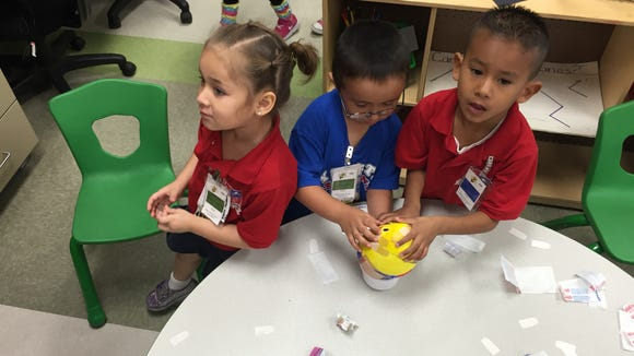 Ysleta Pre-K Center students practice problem solving skills by trying to put Humpty Dumpty back together.