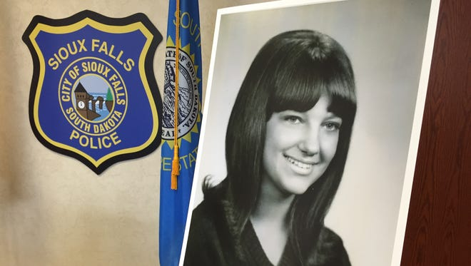 Ellabeth Mae Lodermeier's photo on display at the Sioux Falls Police station Monday. She disappeared in 1974.