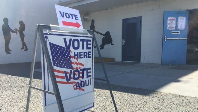 A polling station at Vaughn Middle School.