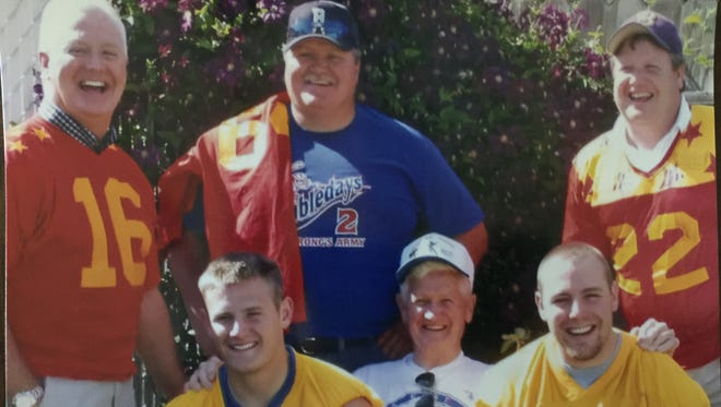 Three generations of the Schulte family have been involved as players in the 70-year history of the Montana East-West Shrine Game. Pictured are, back row from left, brothers Mark, Joe and Steve Schulte. Their father, Bob Schulte of Butte, is pictured in the front row along with grandsons Rob, left, and Ryan, who are Mark's sons.