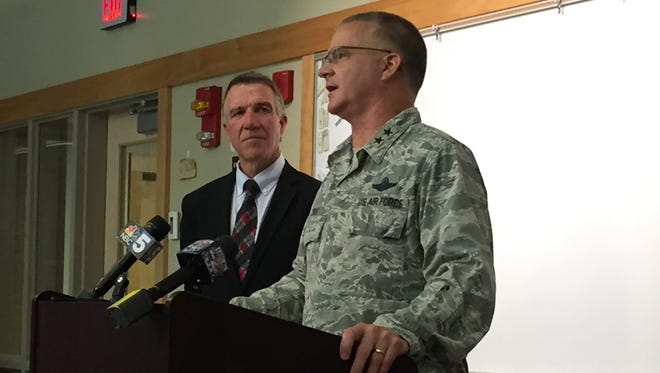 Gov.-elect Phil Scott and Maj. Gen. Steven Cray, adjutant general of the Vermont National Guard, spoke at a news conference Tuesday about the deployment of the 158th Fighter Wing.