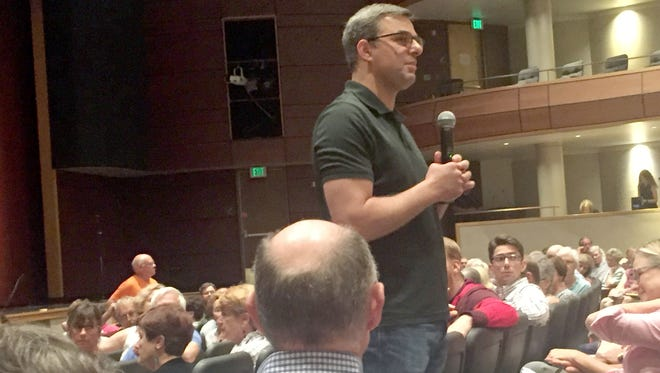 Congressman Justin Amash, R-Cascade Township, at East Grand Rapids high school for a town hall meeting on August 1, 2017.