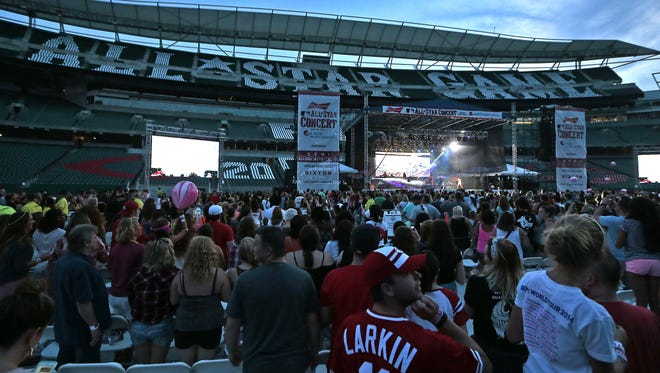 Demi Lovato performs during the All-Star Concert at Paul Brown Stadium in downtown Cincinnati on Saturday, July 11, 2015.