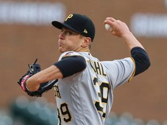 Pittsburgh Pirates starting pitcher Chad Kuhl throws