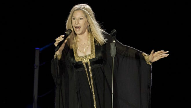 In this June 20, 2013 file photo, singer Barbra Streisand performs during her concert in Tel Aviv, Israel.