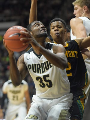 Purdue's Rapheal Davis goes up for a basket Sunday, November 15th, 2015 at Mackey Arena in West Lafayette. The Boilermakers were victorious over Vermont.