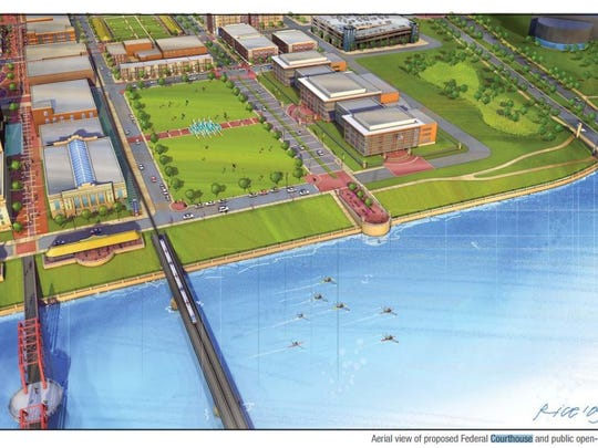 Plans published by the city in 2010 for redeveloping the southern end of the East Village known as the Market District envisioned a new federal courthouse on the east bank of the Des Moines River.