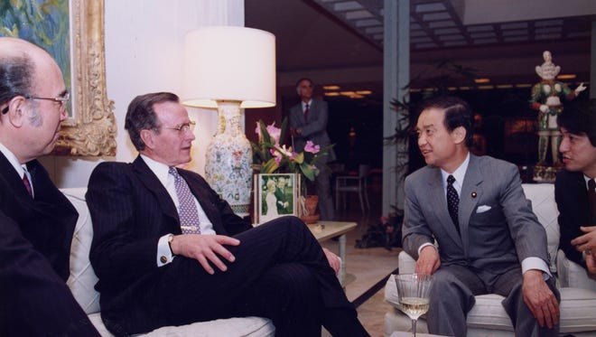 President Bush and Prime Minister Kaifu in the Royal Sitting Room on March 2, 1990.