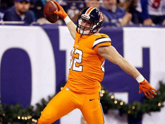 Denver Broncos tight end Jeff Heuerman (82) reacts