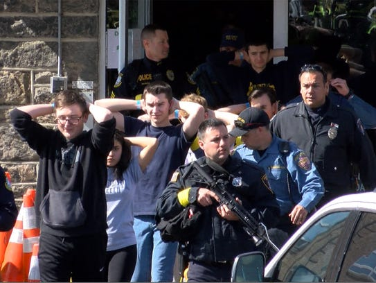 Emergency personnel respond during an active shooter