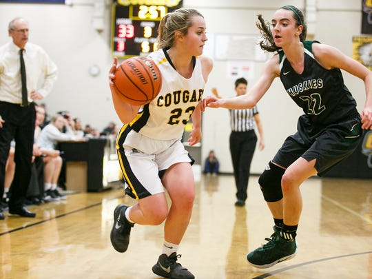 Cascade's Kirstin Cade (23) dribbles around North Marion on Tuesday, Feb. 21, 2017, at Cascade High School. Cascade won the game 53-37, sweeping the Oregon West Conference for the third consecutive year.