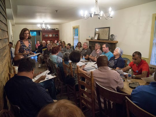 President Lisa DiRado addresses the Northville Democratic Club met on Monday. On the agenda was Shri Thanedar, who is running for governor.