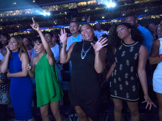 Tiffany Haddish, right, stars with Regina Hall, Jada