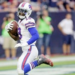 In this Sept. 28 photo, Mike Williams scores against the Houston Texans in Houston. Bills General Manager Doug Whaley says he has granted the agent for wide receiver Mike Williams permission to seek a trade.