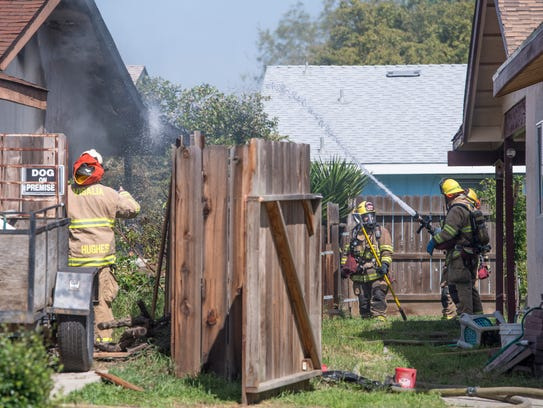 Visalia Fire Department responds to a house fire in