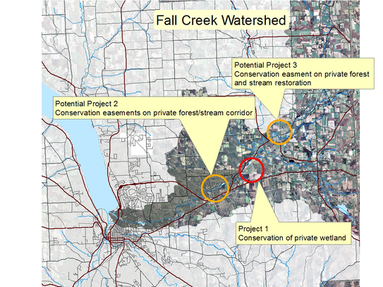 Potential project sites for the Natural Infrastructure