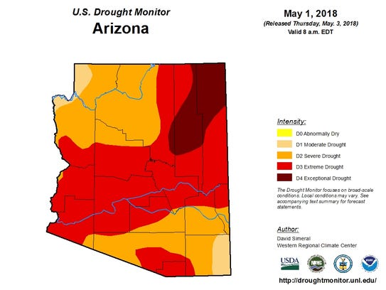 U.S. Drought Monitor map for Arizona as of May 1, 2018.