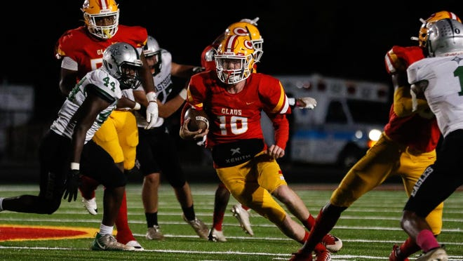 Clarke Central's Will Robinson (10) during an GHSA high school football game between Clarke Central and Eastside in Athens, Ga., on Friday Oct. 16, 2020. Clarke Central won 35-34.