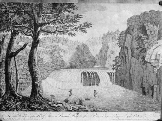 The Middle Falls in Rochester, circa 1755. The image is a photograph of a woodcut based on a sketch by Captain Lieutenant Thomas Davies of the British Army.