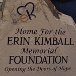 A stone marks the location of the Erin Kimball Foundation.